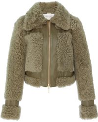 Zimmermann - Cropped Leather-trimmed Shearling Jacket - Lyst