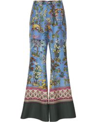 F.R.S For Restless Sleepers - Dioscuri Flared Printed Silk Pants - Lyst