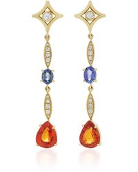 Jordan Alexander - 18k Gold, Diamond, Tourmaline And Garnet Earrings - Lyst
