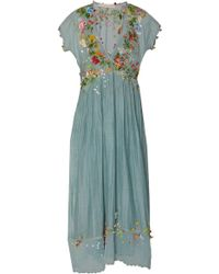 Péro - Floral Embellished Cotton Dress - Lyst