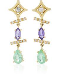 Jordan Alexander - 18k Gold, Diamond, Tazanite And Tourmaline Earrings - Lyst