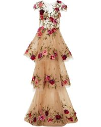 Marchesa - Floral-appliquéd Tiered Tulle Gown - Lyst