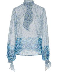 Luisa Beccaria - Floral Long Sleeve Top - Lyst