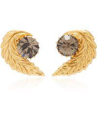 Nicole Romano - 18k Gold-plated Leaf Crystal Stud Earrings - Lyst