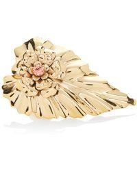 Rodarte - Gold Leaf Ring With Swarovski Crystal Detail - Lyst
