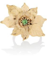 Rodarte - Gold Poinsettia Expandable Bracelet With Swarovski Crystal Detail - Lyst