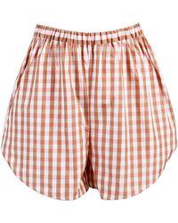 ANOUKI - Gingham Pleated Shorts - Lyst
