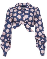 Dalood - Tie Crop Shirt - Lyst