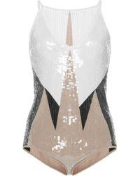 Bottega Veneta - Embellished Geometric Print Bodysuit - Lyst