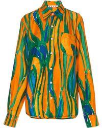 Marni - Long Sleeve Silk Polo Neck Blouse - Lyst