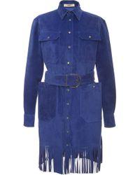 Bally - Fringed Suede Dress In True Blue - Lyst