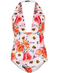 Clover Canyon - Neoprene Poppy Blossoms One Piece Swimsuit - Lyst