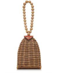 Ulla Johnson Raya Trapeze Small Wicker Bag - Brown