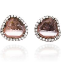 Kimberly Mcdonald - 18k White Gold, Diamond And Geode Earrings - Lyst