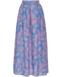 Jaline - Amy Feather Print Silk Maxi Skirt - Lyst