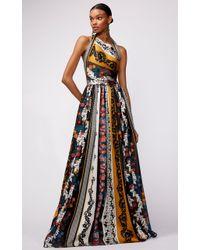Oscar de la Renta - Asymmetric Neck Halter Gown With Paneled Print - Lyst