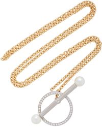 Yvonne Léon | Barre 18k Gold, Diamond And Pearl Necklace | Lyst