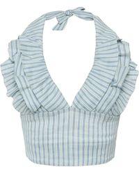 Luisa Beccaria - V-neck Cotton Linen Blend Halter Top - Lyst