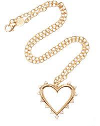 Marlo Laz - Open Heart 14k Gold Diamond Necklace - Lyst