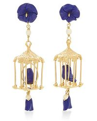 Of Rare Origin - Pagoda 18k Yellow Gold Vermeil, Lapis And White Agate Earrings - Lyst