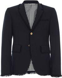 Thom Browne - Frayed Wool Sport Coat - Lyst