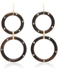 Rosa De La Cruz - 18k Gold, Ebony And Diamond Hoop Earrings - Lyst