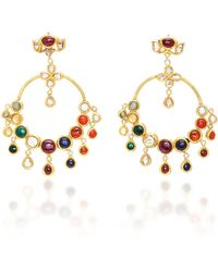 Sanjay Kasliwal - 22k Gold Navratna Earrings - Lyst
