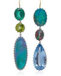 Renee Lewis - 18k White Gold, Alexandrite, Peridot And Opal Earrings - Lyst