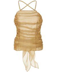 Zeynep Arcay - Backless Silk And Linen Top - Lyst