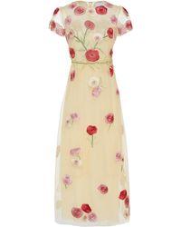 Luisa Beccaria - Embroidered Tulle Jewel Neck Midi Dress - Lyst