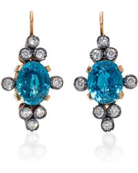 Montse Esteve | 18k Gold, Cambodian Blue And Diamond Earrings | Lyst