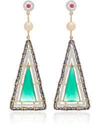 Hanut Singh - Green Architectural Triangle Earrings - Lyst