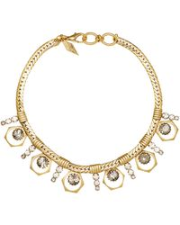 Nicole Romano - 18k Gold-plated Bolt And Stacked Crystal Necklace - Lyst