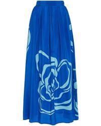 Jaline - Amy Pleated High-rise Silk Maxi Skirt - Lyst