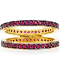 Joanna Laura Constantine - Gold-plated, Ruby Crisscross Ring - Lyst