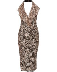 Frederick Anderson - Lace Over Sequin Halter Dress - Lyst