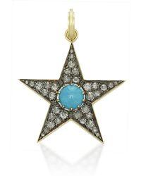 Sylva & Cie - Large Turquoise And Diamond Star Pendant - Lyst