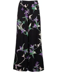 LaDoubleJ - Palazzo Printed Satin Trousers - Lyst