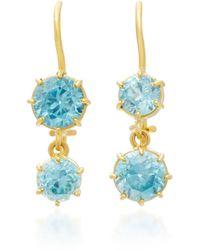 Renee Lewis | 18k Gold Blue Zircon Earrings | Lyst