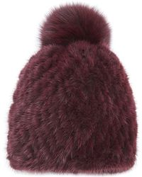 Pologeorgis - The Knit Mink Hat With Fox Pom Pom - Lyst