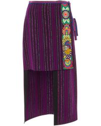Anna Sui - Embroidered Jacquard Skirt - Lyst