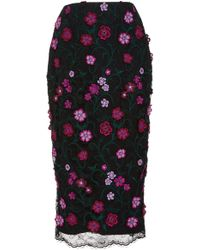 Lela Rose - Embroidered Floral Lace Midi Skirt - Lyst