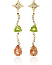 Jordan Alexander - 18k Gold, Diamond, Peridot And Zircon Earrings - Lyst