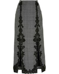 Jonathan Simkhai - Wool Applique Double Slit Skirt - Lyst