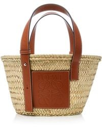 Loewe - Small Leather-trimmed Straw Basket Tote - Lyst