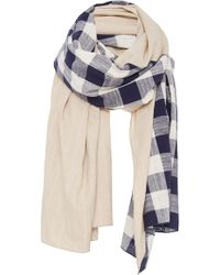 DONNI. - Diagonal Paneled Checked Cotton And Linen Scarf - Lyst