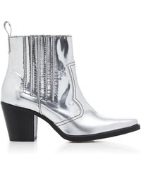 Ganni - Western Metallic Leather Ankle Boots - Lyst