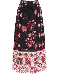 RED Valentino - Tie-front Printed Voile Midi Skirt - Lyst