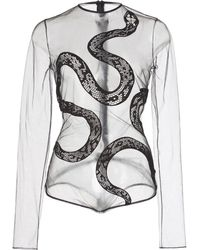 David Koma Snake Lace Net Bodysuit - Black