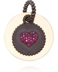 Nancy Newberg - Double Pendant With Yellow Gold Disc And Oxidized Cham With Heart Shaped Gemfields Rubies - Lyst